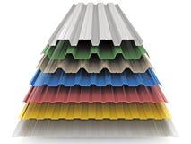 Metaal geprofileerde panelen voor de bouw en reparatie stock illustratie