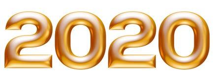 Metaal gouden alfabet, nieuw jaar 2020, 3d illustratie royalty-vrije illustratie