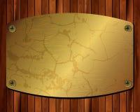 Metaal gouden kader op een houten achtergrond 21 Stock Fotografie