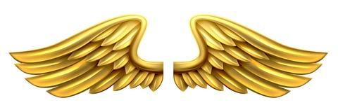 Metaal Gouden Vleugels stock illustratie