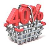 Metaal het winkelen mand 40 3D PERCENTENteken Royalty-vrije Stock Foto's