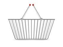 Metaal het Winkelen Mand Leeg Realistisch Pictogram Stock Afbeeldingen
