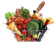 Metaal het winkelen mand met kruidenierswinkels Royalty-vrije Stock Fotografie