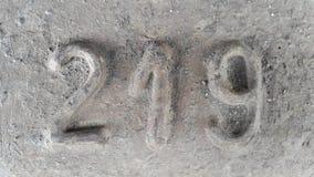 Metaal nummer 219 Textuur van roestig metaal in de vorm van cijfers 219 Royalty-vrije Stock Foto