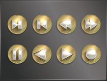 Metaal om pictogrammen vlakke Steampunk, pijlen Stock Afbeeldingen