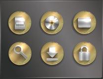 Metaal om vlakke pictogrammen Stock Fotografie
