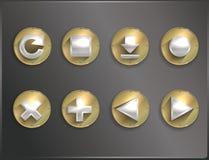 Metaal om vlakke pictogrammen Royalty-vrije Stock Fotografie