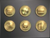 Metaal om vlakke pictogrammen Stock Afbeelding