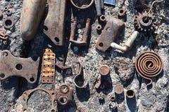 Metaal op Steen stock fotografie