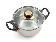 Metaal pan met deksel royalty-vrije stock afbeelding