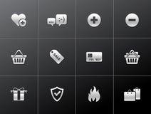 Metaal Pictogrammen - Elektronische handel Stock Afbeelding