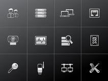 Metaal Pictogrammen - Meer Netwerk van de Computer Royalty-vrije Stock Foto