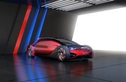 Metaal rode elektrische auto in parkeerterrein met koele verlichting op de muur stock illustratie