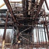 Metaal roestige pijpen en schoorstenen Stock Foto's
