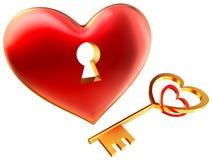 Metaal rood hart met sleutelgat als symbool van liefde royalty-vrije illustratie