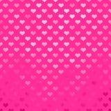 Metaal Roze Hartenpolka Dot Pattern Hearts Dots Stock Afbeelding