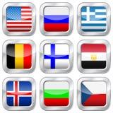 Metaal vierkante nationale vlaggen Royalty-vrije Stock Afbeelding