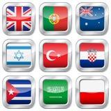 Metaal vierkante nationale vlaggen Stock Fotografie