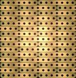 Metaalachtergrond van lange platen met gaten in steampunkstijl Stock Foto's
