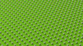 Metaalballen op een groen convergerend perspectief als achtergrond royalty-vrije illustratie