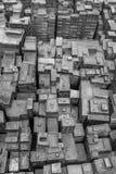 Metaalbeeldhouwwerk van Hong Kong-stad in zwart-wit Royalty-vrije Stock Foto