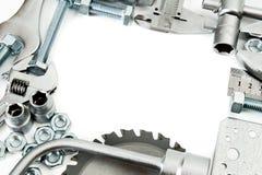metaalbewerking Heerser, moersleutel, schroef en anderen hulpmiddelen stock foto