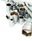 metaalbewerking Vastgestelde moersleutel op een witte achtergrond royalty-vrije stock afbeelding