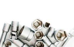 metaalbewerking Vastgestelde moersleutel op een witte achtergrond royalty-vrije stock foto's