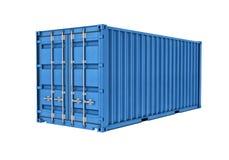 Metaalcontainer op witte achtergrond wordt geïsoleerd die Stock Foto