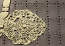 Metaaldeur en decoratie Stock Foto's