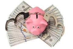 metaalhandcuffs op geld Royalty-vrije Stock Afbeelding