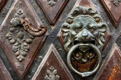 Metaalhandvat in de vorm van een leeuw op houten deur stock fotografie