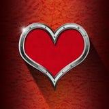 Metaalhart op Bloemenachtergrond Royalty-vrije Stock Afbeeldingen