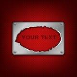 Metaalkenteken op rode textuur Stock Foto's