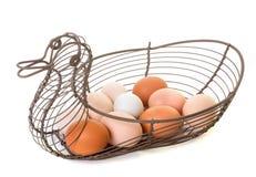 Metaalmand voor eieren stock afbeelding