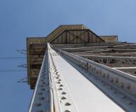 Metaalontwerp van een toren van ropeway in Barcelona, Spanje royalty-vrije stock foto's