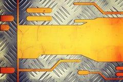 Metaalplaat op metaal gouden achtergrond royalty-vrije stock fotografie
