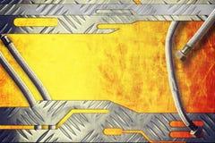 Metaalplaat op metaal gouden achtergrond stock foto