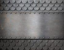 Metaalplaat over de achtergrond van het schalenpantser Stock Foto