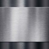 Metaalplaat over donkere metaal 3d illustratie als achtergrond Stock Afbeelding