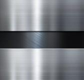 Metaalplaten over zwarte geborstelde metaal 3d illustratie als achtergrond Stock Foto