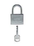 Metaalslot en sleutel. royalty-vrije stock afbeelding