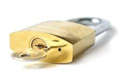 Metaalslot en sleutel royalty-vrije stock afbeeldingen