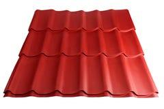 Metaaltegel op witte achtergrond wordt geïsoleerd die Materiaal voor dak stock afbeeldingen