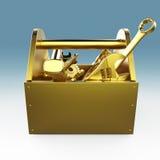 Metaaltoolbox met hulpmiddelen Schroevedraaier, hamer, moersleutel en moersleutel In aanbouw, onderhoud, moeilijke situatie, repa Stock Foto's