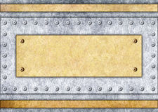 Metaaluithangbord, brons of messingskader, 3d achtergrond, illustra stock illustratie