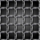 Metaalvierkanten op geperforeerde textuurachtergrond Stock Foto