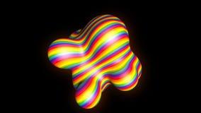 Metaball abstracto - forma orgánica con las rayas del arco iris, 3d representación digital, diseño de concepto para la ciencia almacen de video