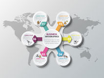 Metaball business infographics template for circle infographic. 3d paper infographic elements for six options. Metaball business infographics. Template for stock illustration