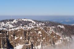 Stazione sciistica e montagna di Metabief Fotografia Stock